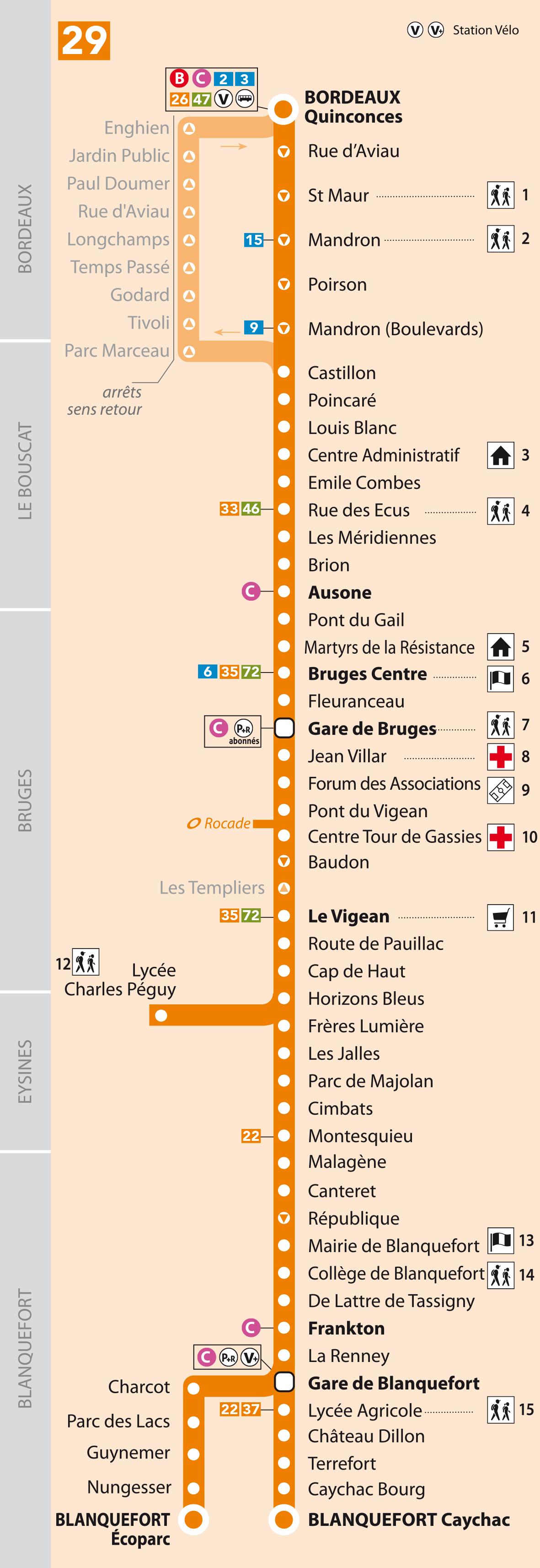 Horaires bus ligne 29 tbm transports bordeaux m tropole for Horaires bus ligne 29 arles salon