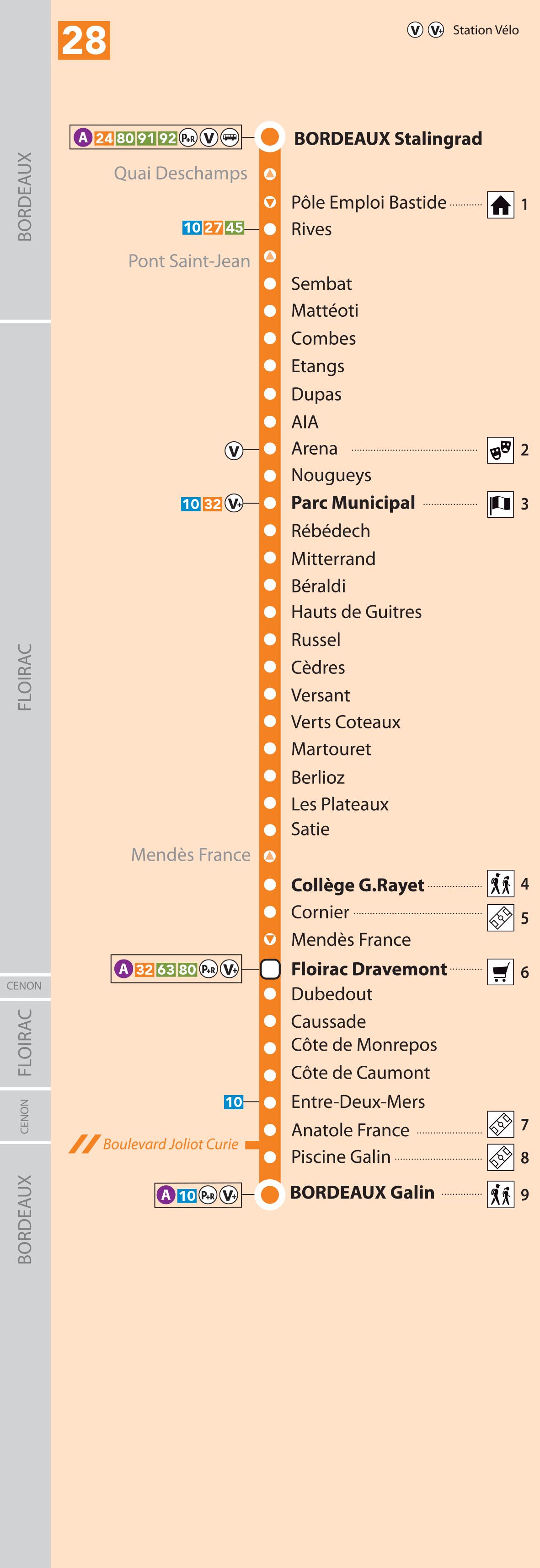 Carte Tram Bordeaux Demandeur Demploi.Horaires Bus Ligne 28 Tbm Transports Bordeaux Metropole